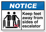 Keep Feet Away From Sides Of Escalator Notice Signs