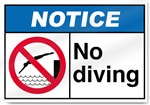 No Diving Notice Signs
