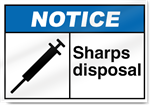 Sharps Disposal Notice Signs