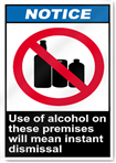 Use Of Alcohol On These Premises Will Mean Instant Dismissal Notice Signs