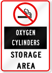 No Smoking Oxygen Cylinder Storage Area Sign