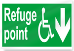 Disabled Refuge Point Down Safety Signs
