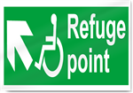 Disabled Refuge Point Up Left Safety Signs