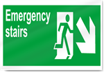 Emergency Stairs Down Right Safety Signs