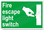 Fire Escape Light Switch Safety Signs