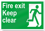 Fire Exit Keep Clear Safety Signs