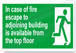 In Case Of Fire Escape To Adjoining Building Is Available From The Top Floor Safety Signs