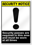 Security Passes Are Required In This Area Security Signs