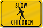 Horizontal Slow Children With Child Symbol Sign