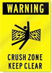 Warning Crush Zone Keep Clear