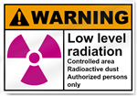 Low Level Radiation Controlled Area Radioactive Dust Warning Signs