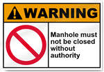 Manhole Must Not Be Closed Without Authority Warning Signs